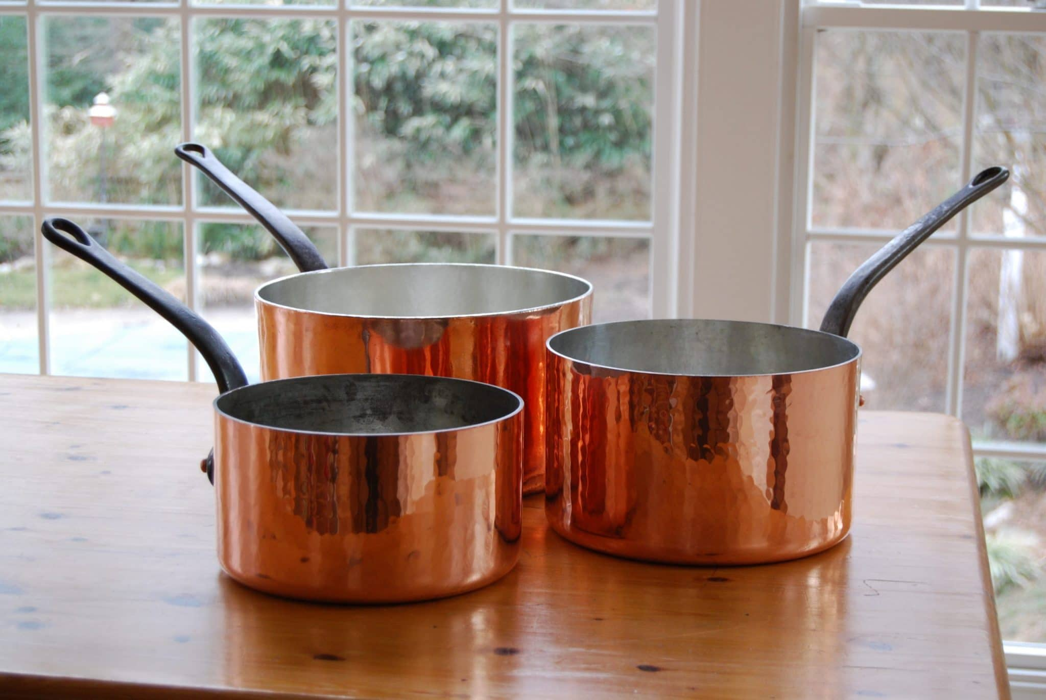 22cm, 24cm, and 28cm Dehillerin and Mauviel saucepans