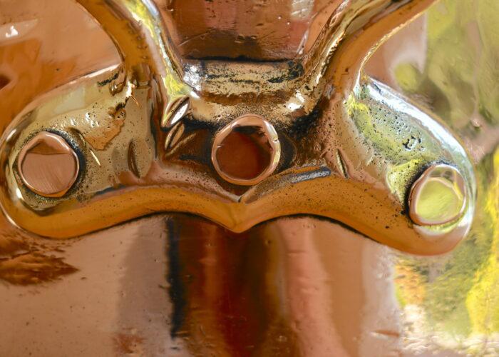 34cm brass-handled saucepan with helper handle